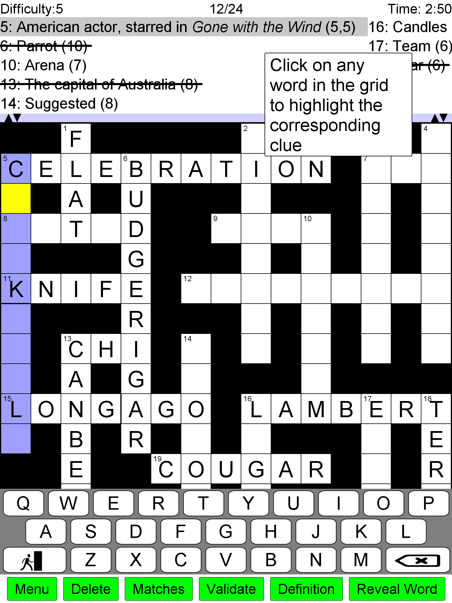 Cougar crossword clue