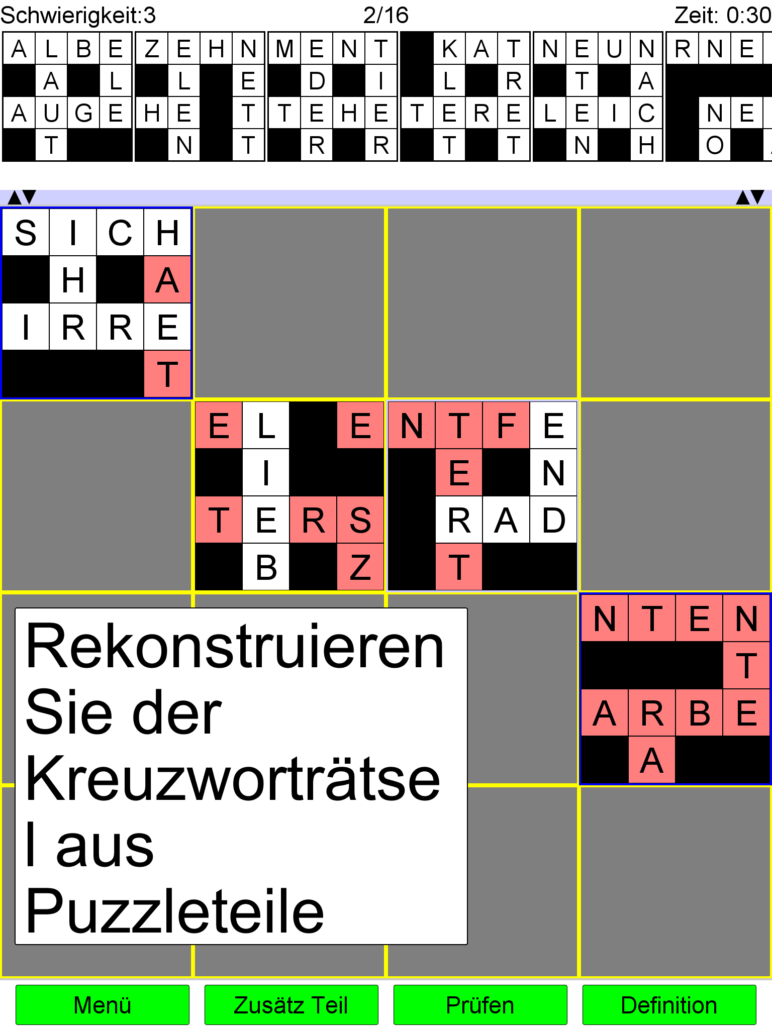 Platzieren Kreuzworträtsel